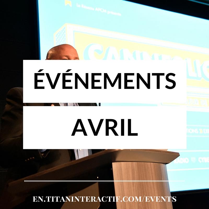 Événements d'avril en communications et marketing